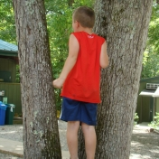 Young boy in red standing on tree stump