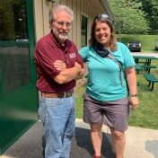 R Watts & Dr. Galbreath standing outside of LCW Research Center