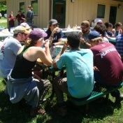 REU Students Chatting During Lunchbreak