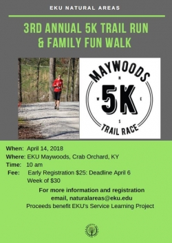 Maywoods 5K Trail Race Information Flyer
